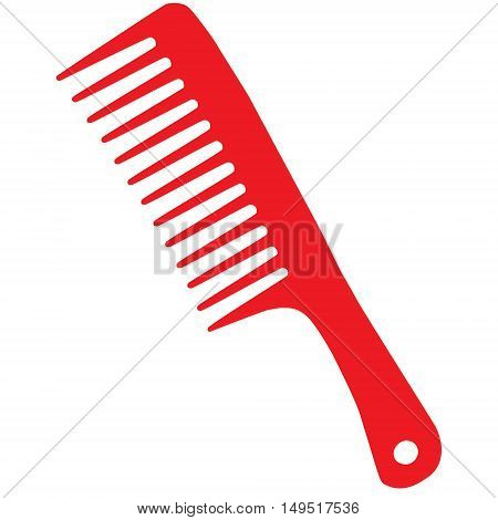 barber hairdresser comb red isolated vector illustration