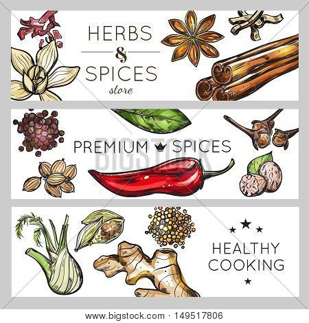 Three horizontal spice and herb banner set with healthy cooking premium spices and herb and spices store descriptions vector illustration