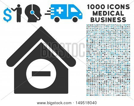 Deduct Building icon with 1000 medical commerce gray and blue glyph design elements. Set style is flat bicolor symbols white background.