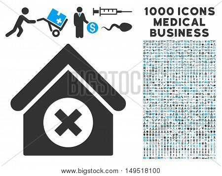 Delete Building icon with 1000 medical commercial gray and blue glyph pictograms. Clipart style is flat bicolor symbols white background.