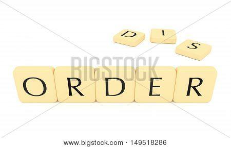Letter tiles: order or disorder 3d illustration isolated on white