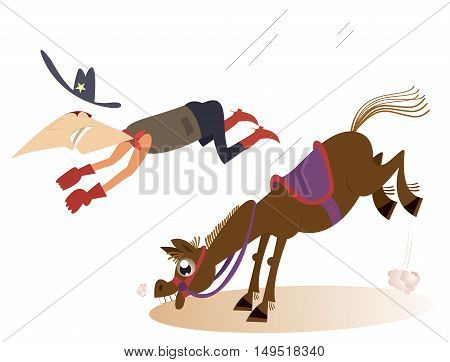 Rodeo. Man or cowboy falls from the horse
