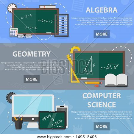 Set of vector flat horizontal banners of algebra, geometry and computer science for website and apps. Concept of mathematical science and education. Illustration of school equipment.