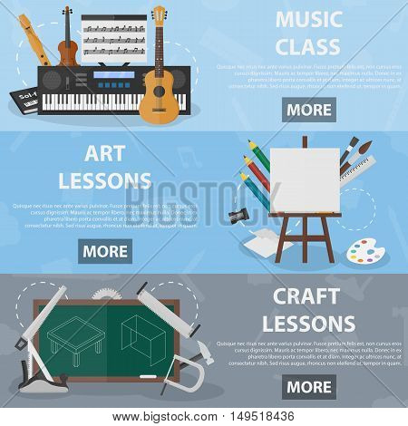 Set of vector flat horizontal banners of art and craft lessons for websites. Concept of education and creative subjects at school. Illustration of musical instruments, equipment and tools.
