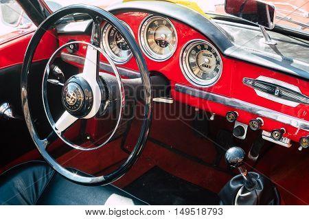 Ferrara Italy -September 24 2016. Interior of the Italian classic car Alfa Romeo Giulietta Special photographed in Ferrara Italy