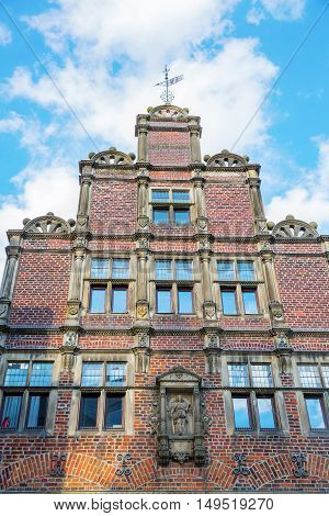 gable of a historical building in the old town of Muenster Germany