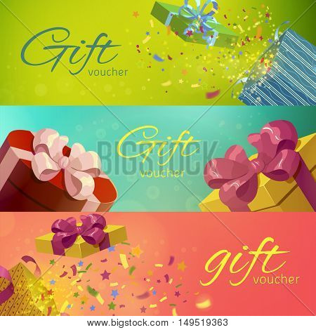 Gift vouchers horizontal banners set with holiday packages and confetti on blurred background isolated vector illustration