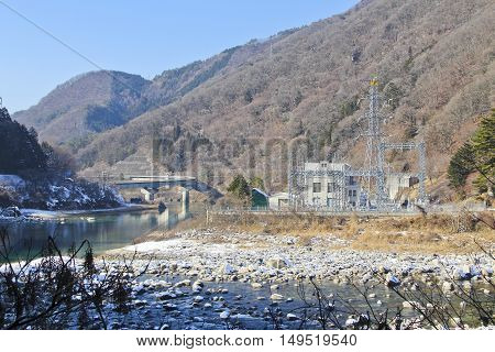 winter hydroelectric plant near the village of tsumago Japan