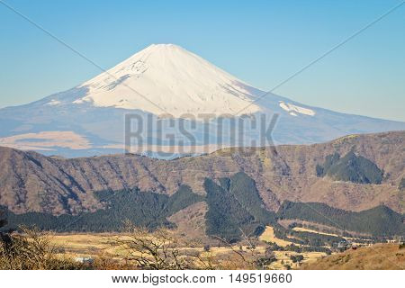 view of Mount Fuji from the mountainside of Hakone