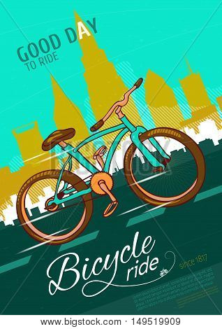 Bicycle ride poster with single bike on road with markings on city scenery background vector illustration