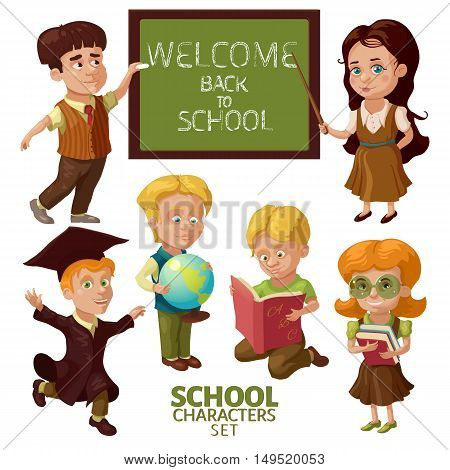 School characters set with teachers and students educational accessories chalkboard with lettering isolated vector illustration