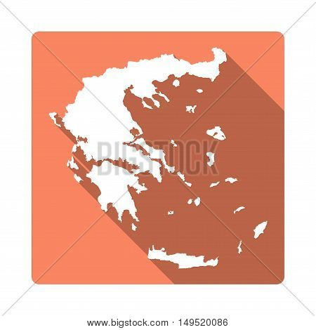 Vector Greece Map Button. Long Shadow Style Greece Map Square Icon Isolated On White Background. Fla