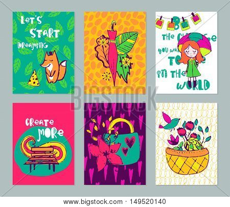 Autumn funny hand drawn cards set. Vector colorful doodle posters collection. Design for scrap booking.