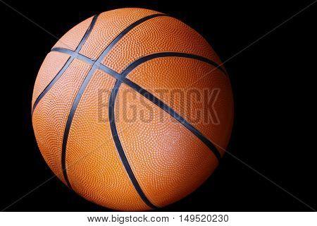 One basketball on dark background