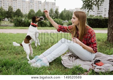 young pretty girl in red tartan shirt and jeans sit at the lawn near high buildings and play with her dog. Active urban leisure concept.