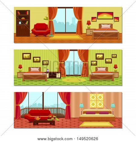 Hotel rooms compositions with beds tiled floor city scenery outside windows pictures on walls isolated vector illustration