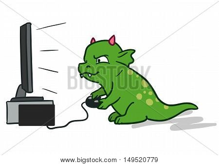 Vector hand-drawn cartoon character illustration of a cute green dragon monster sitting in front of flat big screen TV with game controller in hands playing computer video games.