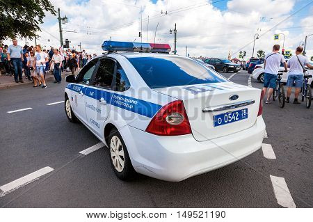 ST. PETERSBURG RUSSIA - JULY 31 2016: Russian police patrol car of the State Automobile Inspectorate parked on the city street in summer day