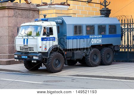 ST. PETERSBURG RUSSIA - JULY 31 2016: Russian police heavy truck parked on the city street in summer day
