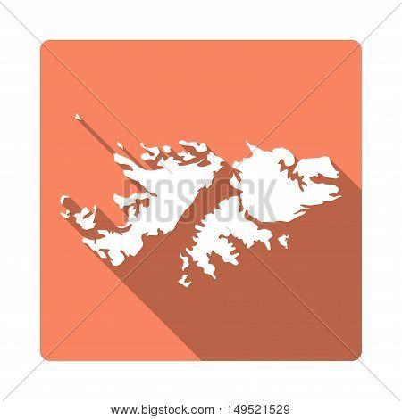 Vector Falkland Islands (malvinas) Map Button. Long Shadow Style Falkland Islands (malvinas) Map Squ