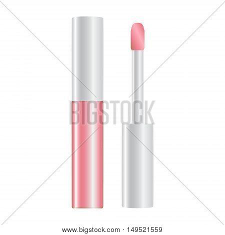 Rose Nude Shiny Lip Gloss Opened Vector Illustration