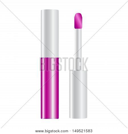 Fuchsia Shiny Lip Gloss Opened Vector Illustration