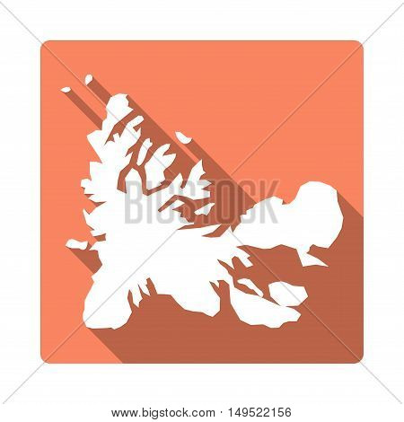 Vector French Southern Territories Map Button. Long Shadow Style French Southern Territories Map Squ