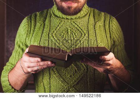Bearded Man Reading.