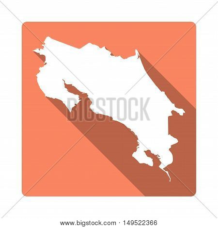 Vector Costa Rica Map Button. Long Shadow Style Costa Rica Map Square Icon Isolated On White Backgro