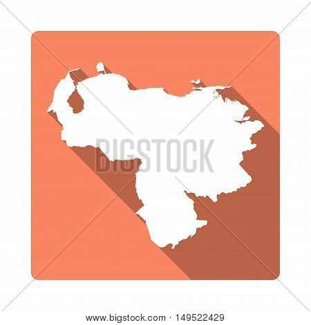 Vector Venezuela, Bolivarian Republic Of Map Button. Long Shadow Style Venezuela, Bolivarian Republi