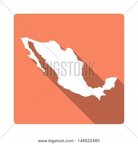 Vector Mexico Map Button. Long Shadow Style Mexico Map Square Icon Isolated On White Background. Fla
