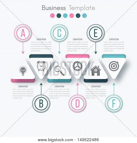 Vector illustration circles timeline infographic design. Business concept with six options