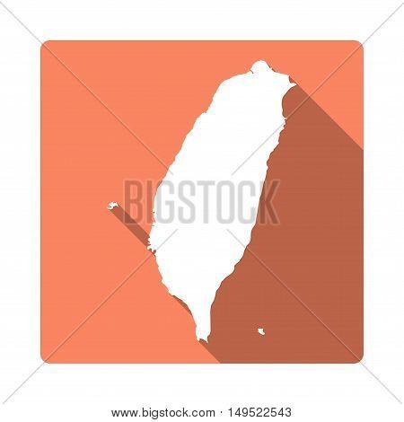 Vector Taiwan, Republic Of China Map Button. Long Shadow Style Taiwan, Republic Of China Map Square