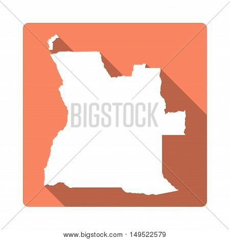 Vector Angola Map Button. Long Shadow Style Angola Map Square Icon Isolated On White Background. Fla