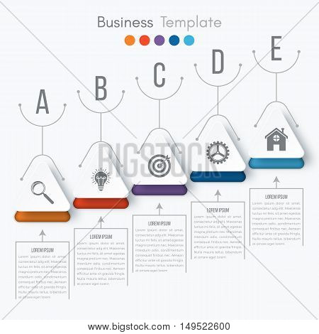 Vector illustration circles timeline infographic design. Business concept with five options
