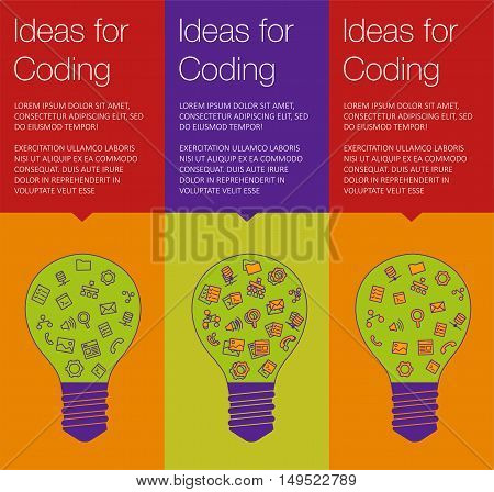 Vector banner with light bulb of idea. Vertical banner for education online courses. Colorful banner with ballon talk for coding of idea. Tip and hint for brain. Banner for Hackathon event.