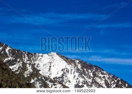 mountain landscape, slope, gorge, diyey nature, blue sky