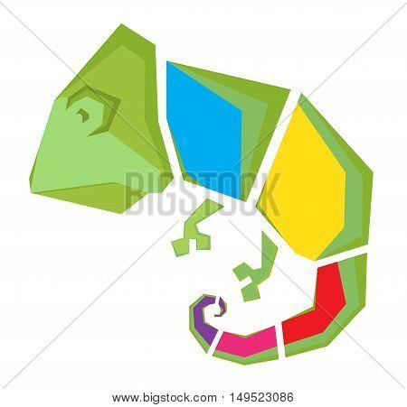 Stylized vector image of an chameleon. Logo