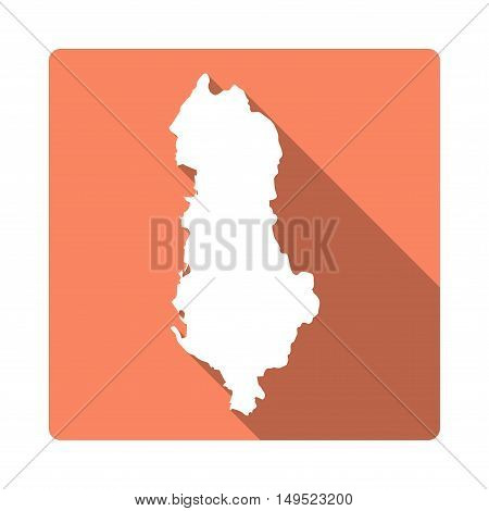 Vector Albania Map Button. Long Shadow Style Albania Map Square Icon Isolated On White Background. F