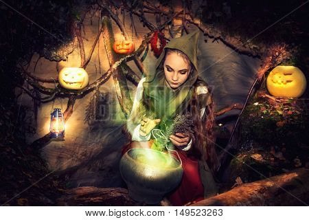 Witch Brews Potions In Her Cave.