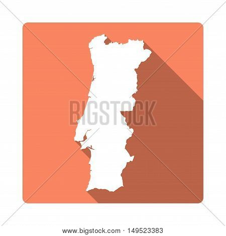 Vector Portugal Map Button. Long Shadow Style Portugal Map Square Icon Isolated On White Background.