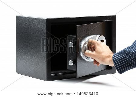 Man Hand Opened A Safe Deposit Box