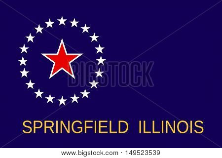 Flag of Springfield is the capital of Illinois state in United States
