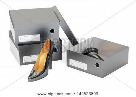 Black high heel shoes in the shoeboxes 3D rendering isolated on white background