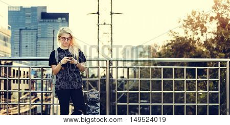 Young Woman Standing Outdoors Bridge Concept