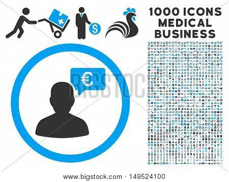 European Person Opinion icon with 1000 medical business gray and blue glyph pictographs. Collection style is flat bicolor symbols white background.