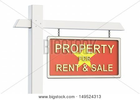 Property for sale and rent in Vietnam concept. Real Estate Sign 3D rendering isolated on white background