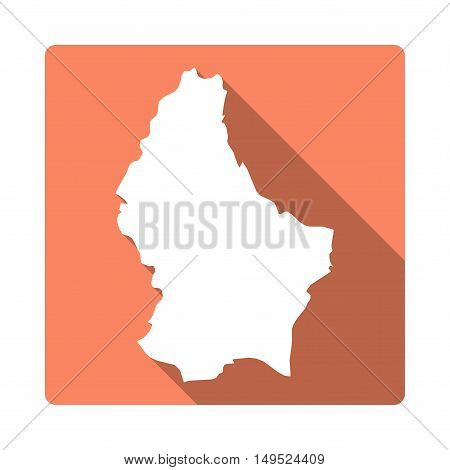 Vector Luxembourg Map Button. Long Shadow Style Luxembourg Map Square Icon Isolated On White Backgro