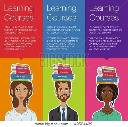 Vector template banner for website header advertisement. Cartoon character for learning course. Vertical banner for business workshop training. Banner for advertising. Set of vector colorful banner
