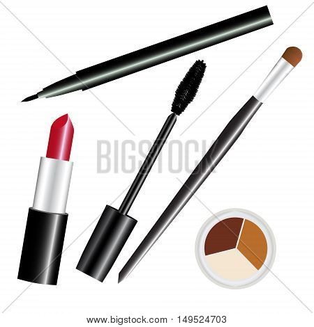 make-up cosmetic set red isolated vector illustration